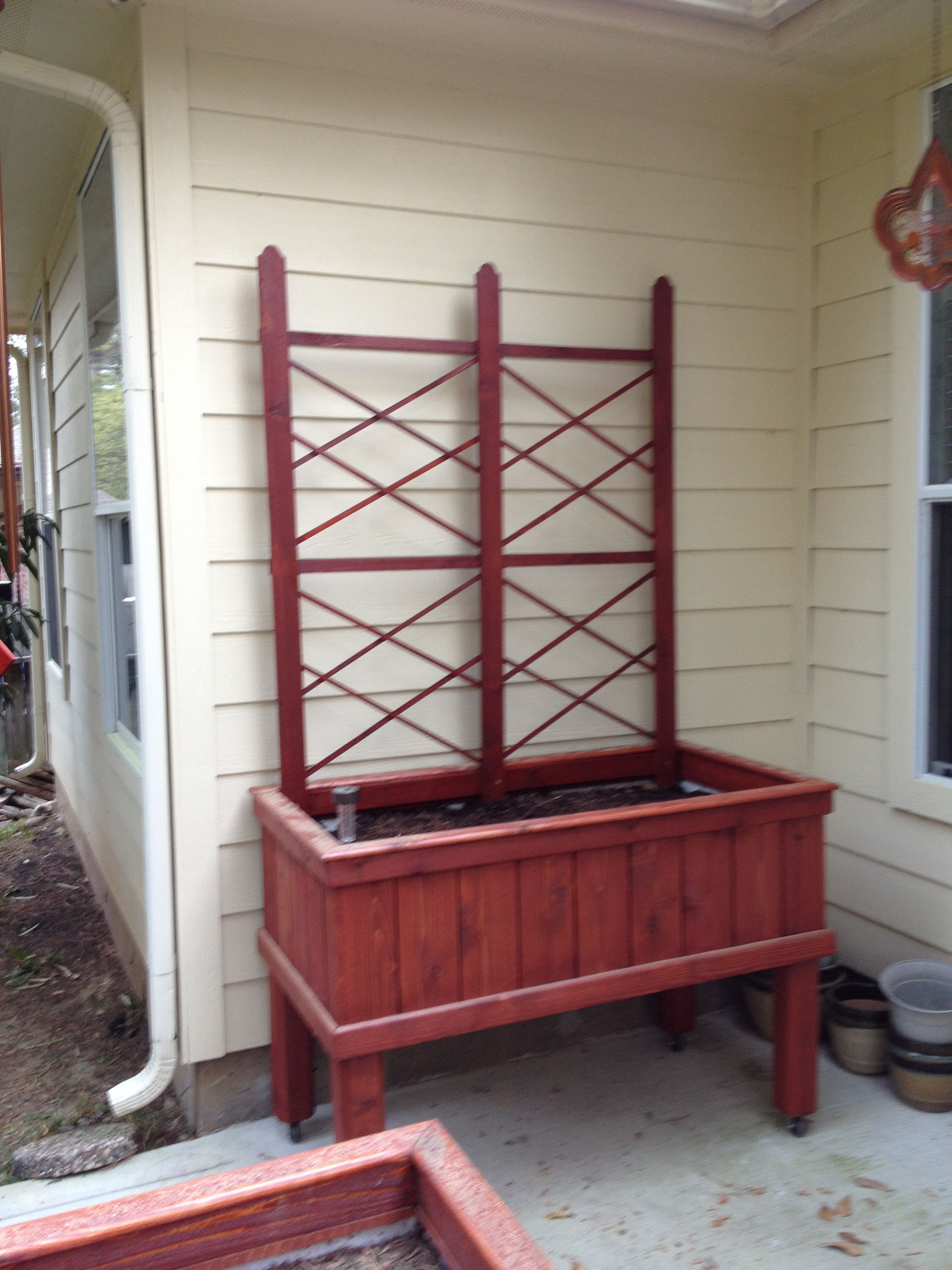 Completed Planter Box With Trellis Attached Legs Of