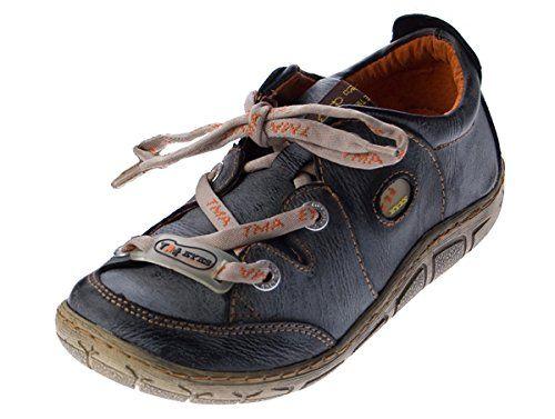 Damen Leder Halb Schuhe Sneakers Schwarz Weiß Used Look Comfort Turnschuhe TMA Eyes Gr. 36 kAZO5cTtzr