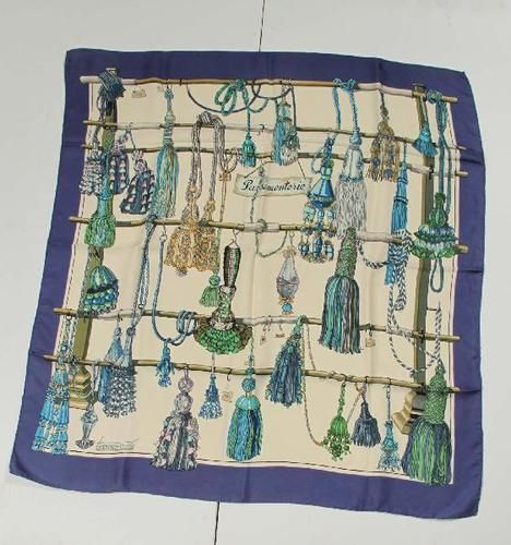 HERMES PARIS Vintage 100% Silk Scarf PASSEMENTERIE Foulard ...