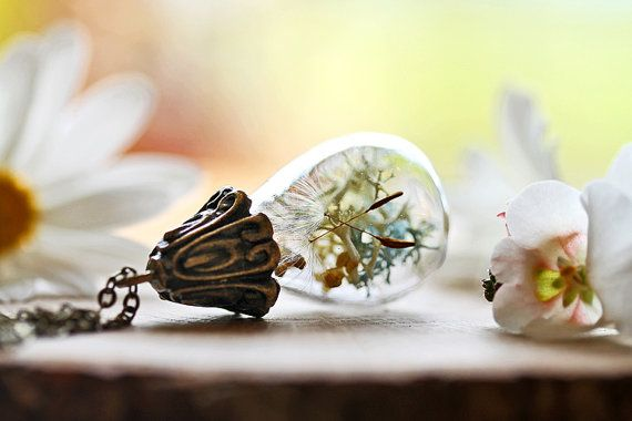 Fairy garden pendant dandelion wish necklace door RubyRobinBoutique