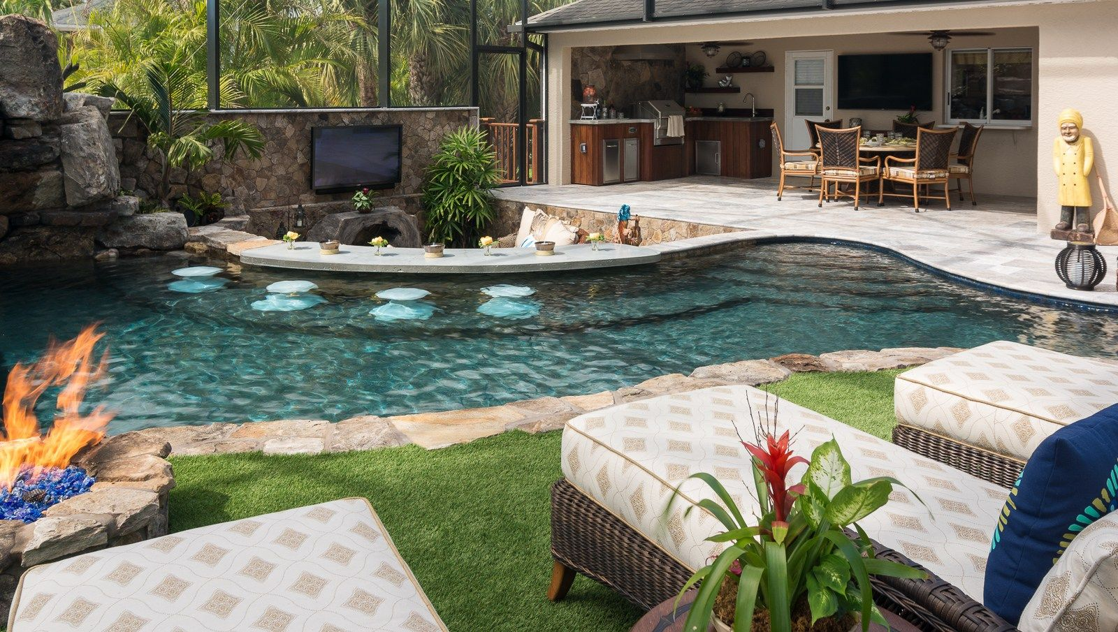 Lazy River Lucas Lagoons Custom pool fire pit | Lazy river ...