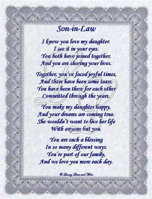 sayings for the son N law from the mother of the bride | American