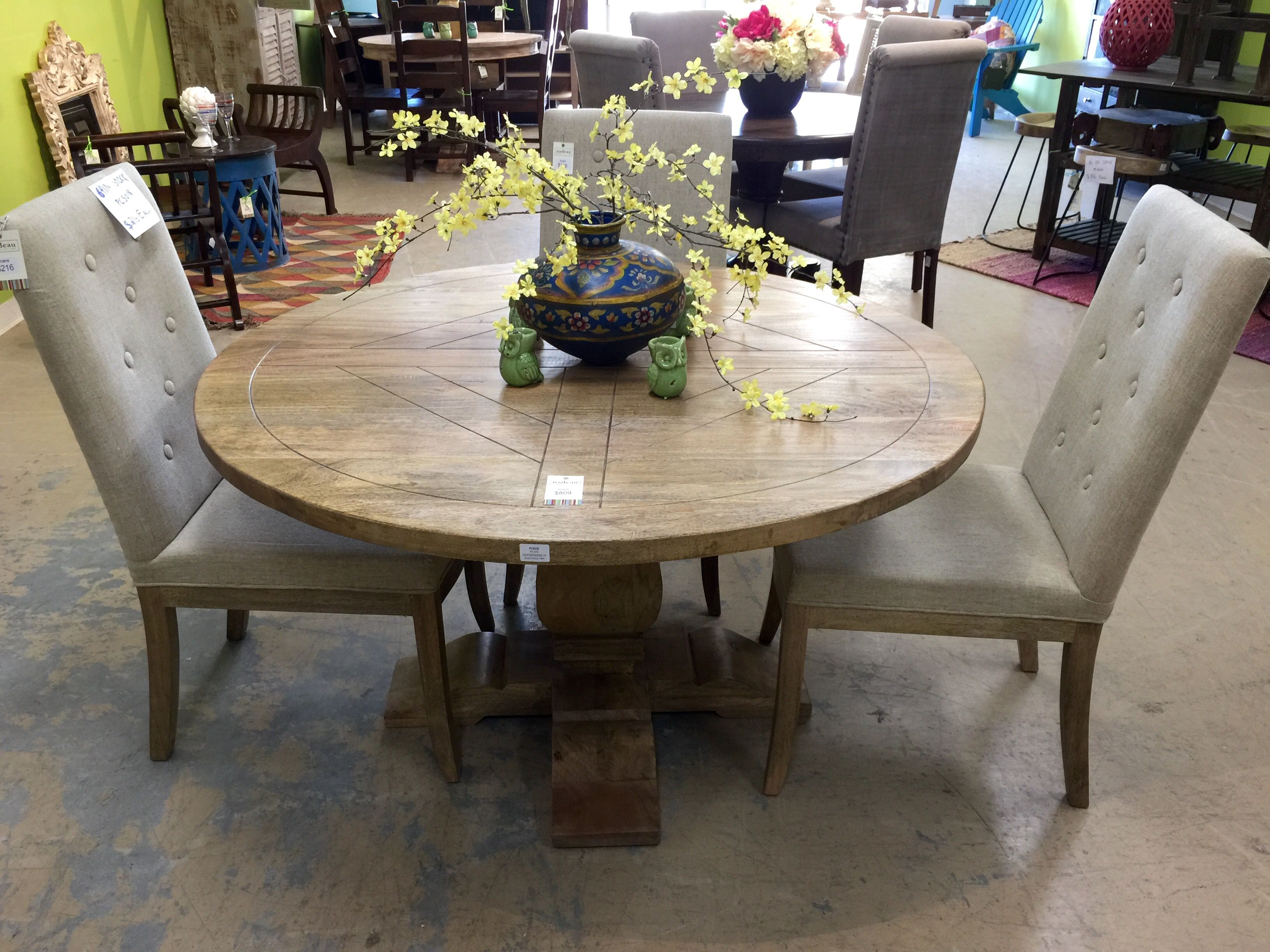Classic rustic dining 54 round acacia wood table in vintage finish pc63335 bedford dining chairs pc5818 with vintage legs