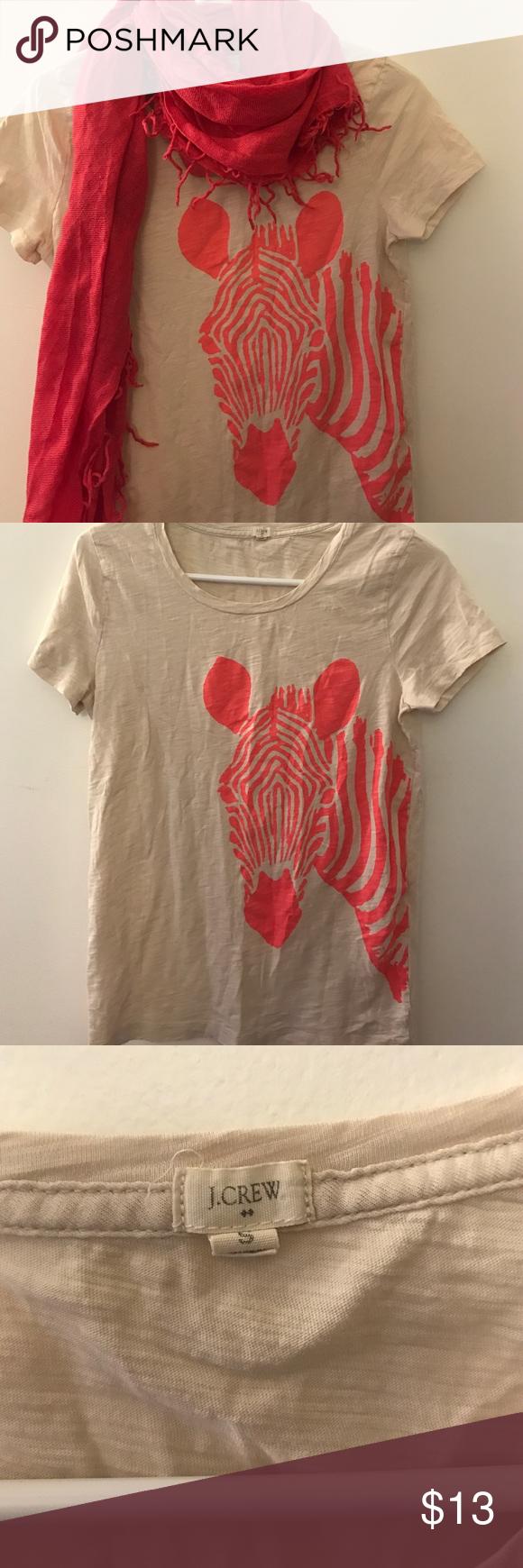 J Crew orange zebra t shirt J Crew beige t shirt with orange zebra design. Tops Tees - Short Sleeve