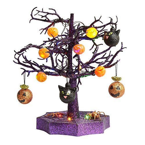 How unique is this? This purple black and orange lit table top tree - halloween lighted decorations