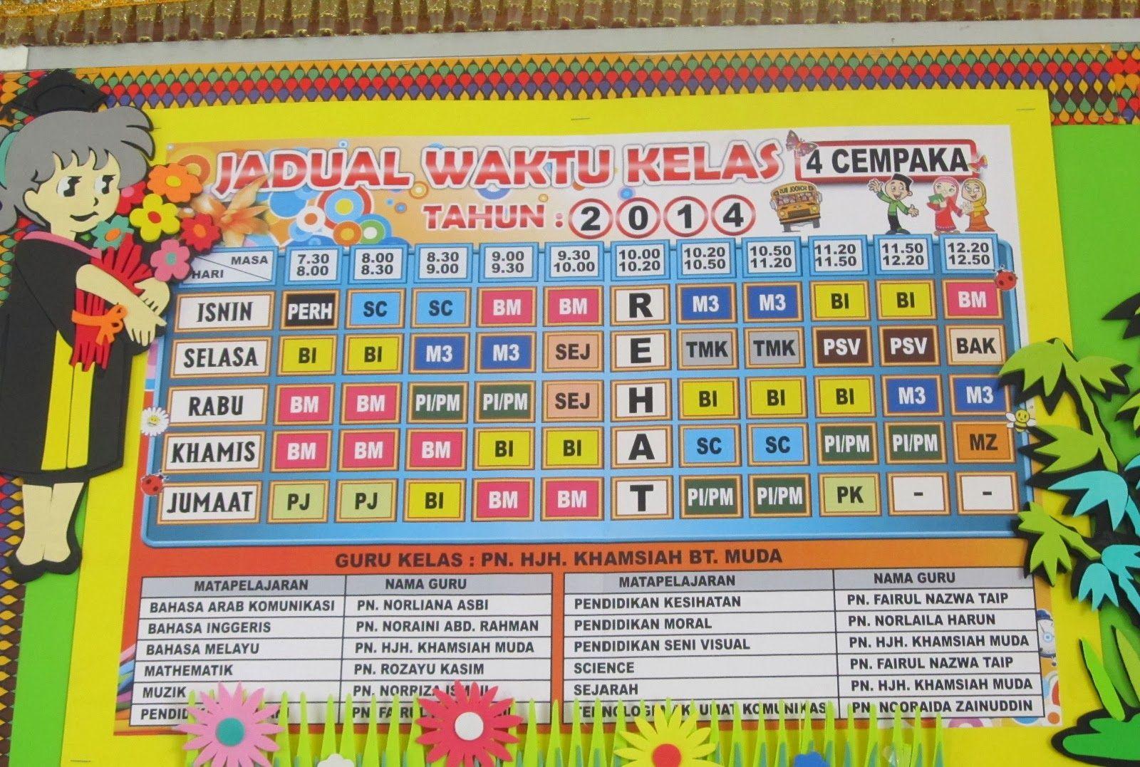 Image Result For Contoh Jadual Waktu Kelas Yang Kreatif Classroom Image Periodic Table