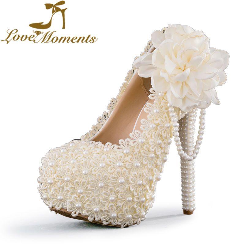 Women sweet wedding shoes ivorywhitepink flowers lace platform women sweet wedding shoes ivorywhitepink flowers lace platform high heels pearl beading mightylinksfo