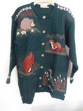 Concept Knitwear woodland cardigan hedgehog stoat squirrel heron Size M