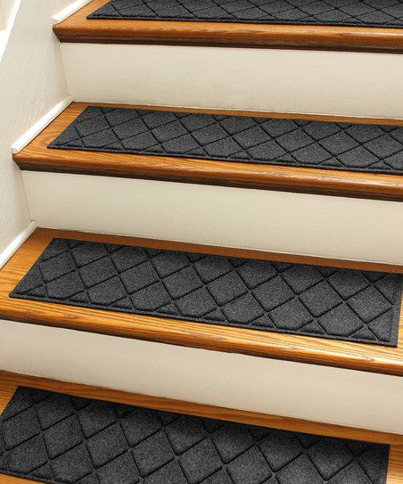 Charcoal Aqua Shield Argyle Stair Tread Set Of Four
