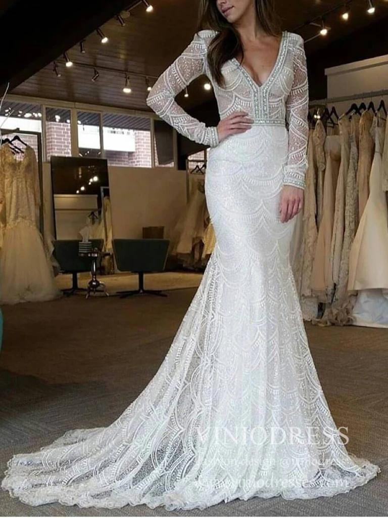Fully Beaded Long Sleeve Mermaid Wedding Dresses Backless Vw1429 Long Sleeve Mermaid Wedding Dress Wedding Dresses Beaded Fit And Flare Wedding Dress [ 1024 x 768 Pixel ]