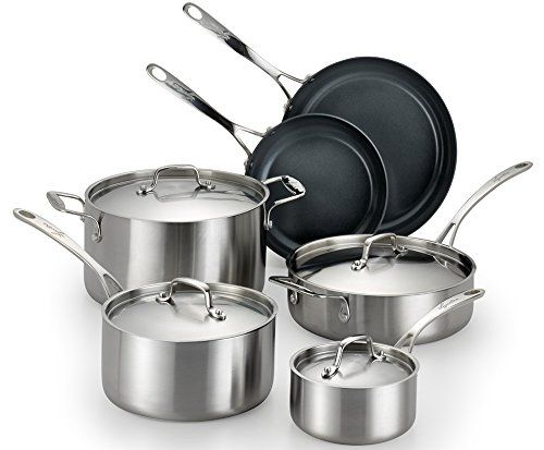 Lagostina Q552sa64 Axia Stainless Steel Ceramic Nonstick Pfoa Ptfe Free Cookware Set Cookware 10 Piece Silver Tried It Love It Cookware Set Stainless Steel