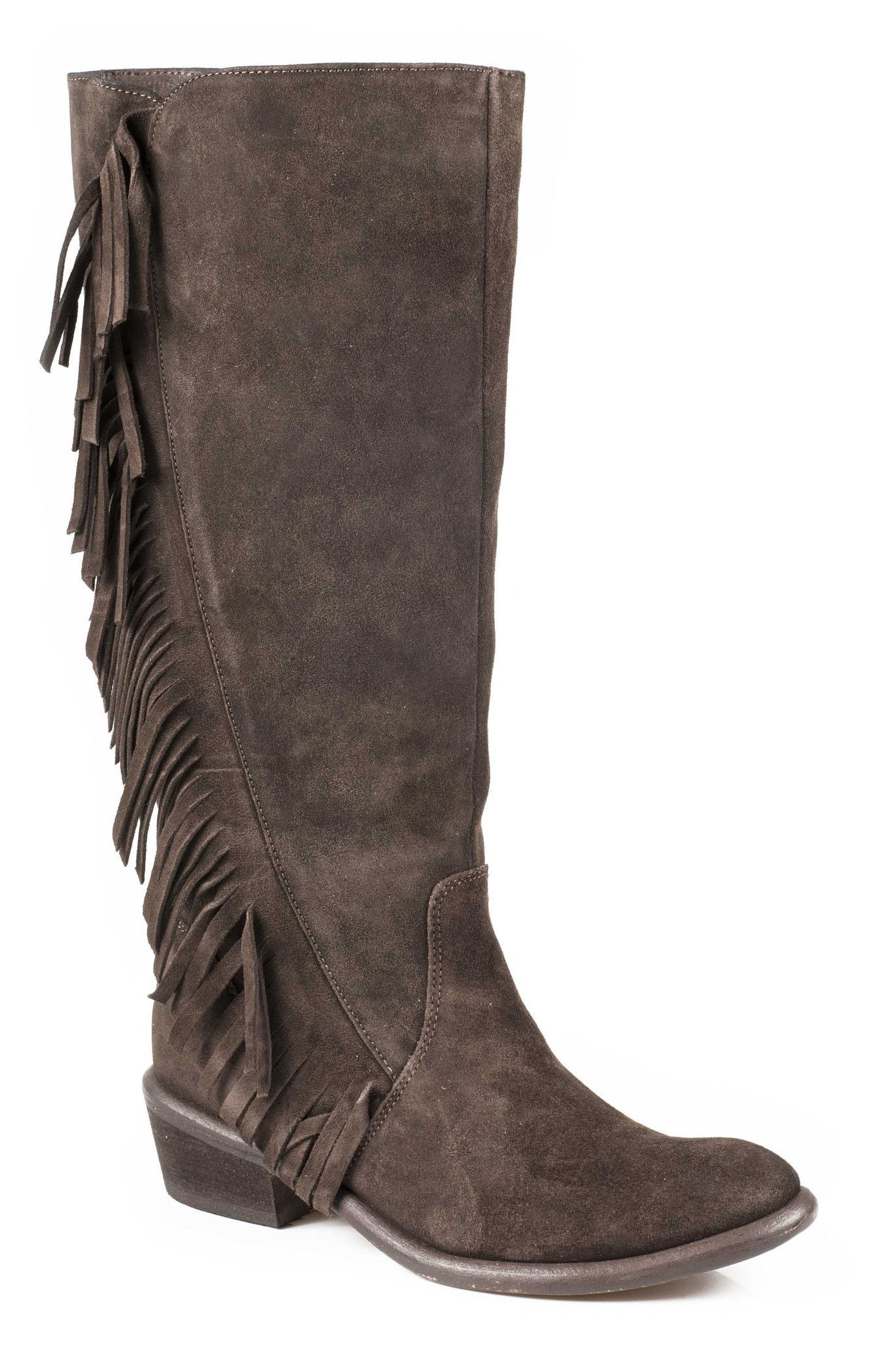 Roper Ladies Fashion Round Toe Boots 15 Suede Fringe Boot