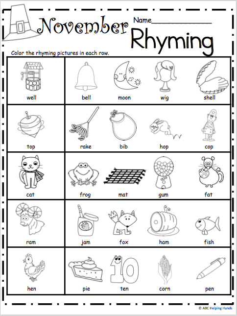 Free Kindergarten Rhyming Worksheets for November | Kindergarten ...