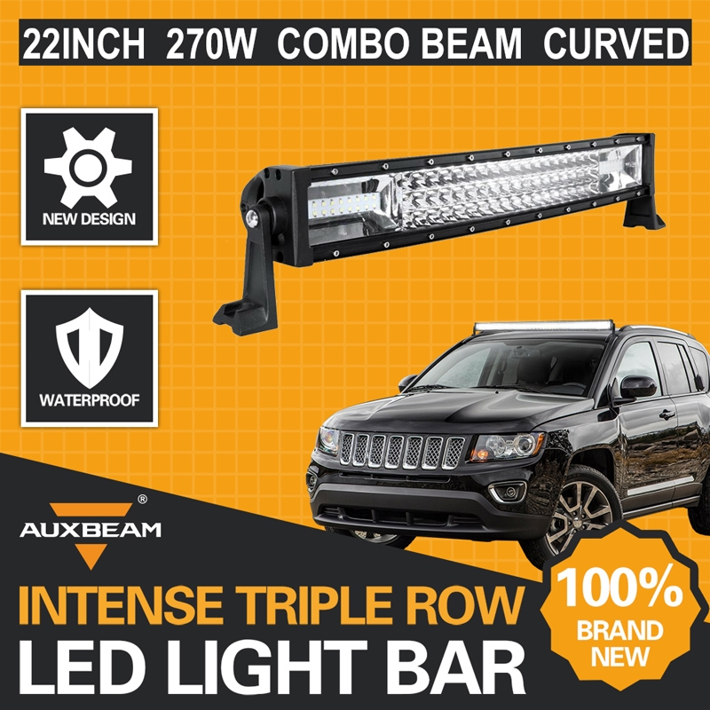 """119.00$  Watch here - http://alin0n.worldwells.pw/go.php?t=32730891229 - """"Auxbeam 22"""""""" 270W Triple-Row Cree Chips Curved Led Light Bar Auto Offroad Driving Led Bar for Car SUV 4WD Boat Truck Combo 6000K"""" 119.00$"""