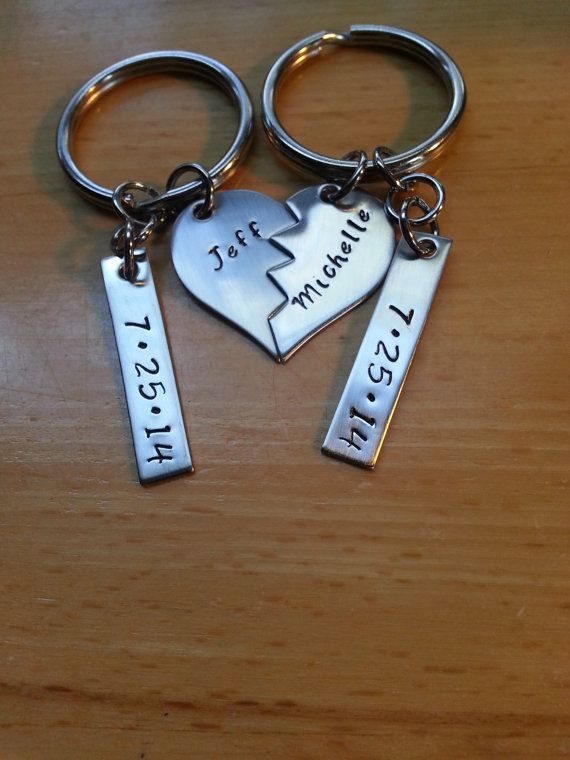 Personalized Keychain Solid Stainless Steel Anniversary gift Custom Order Keyring