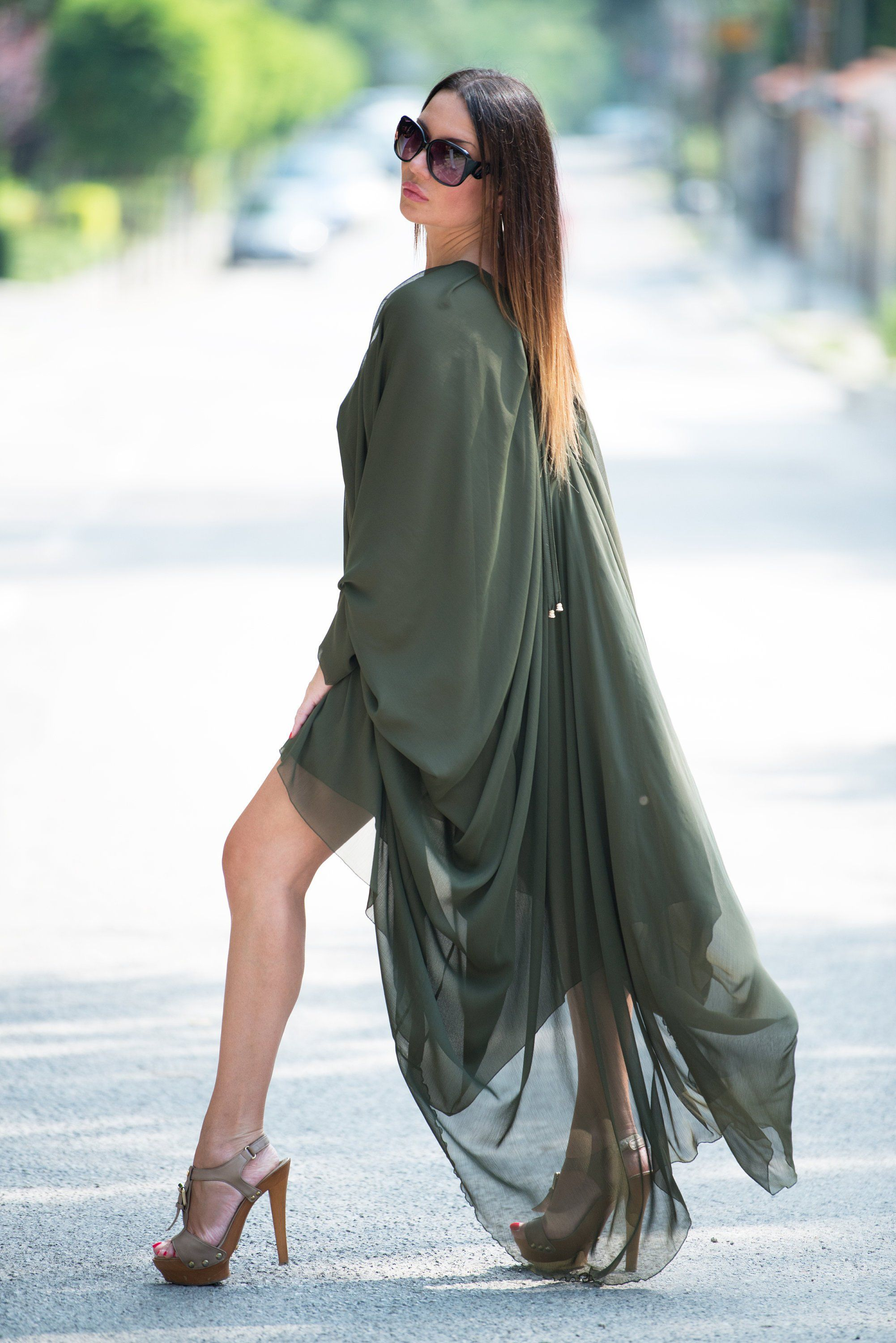 Military green maxi dress maxi kaftan extravagant long dress plus