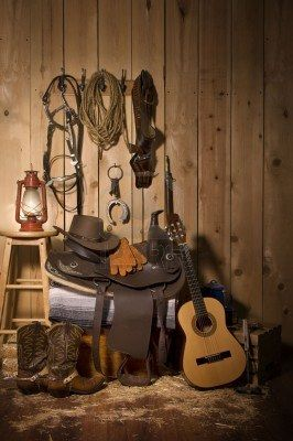 purchase cheap 2028c 48ebf Still life of cowboy paraphernalia in the tack room of a barn Stock Photo -  ... 123rf.com