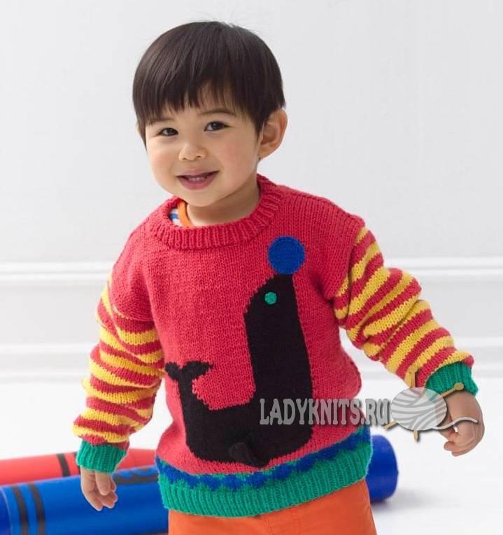 """Вязаный спицами пуловер""""Цирк"""" для мальчика-2 года - 4 года ..."""