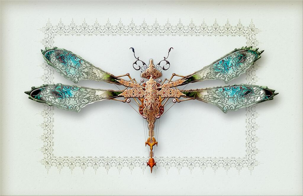 Victorian Mechanical Dragonfly  #Fineart #Illustration #Steampunk