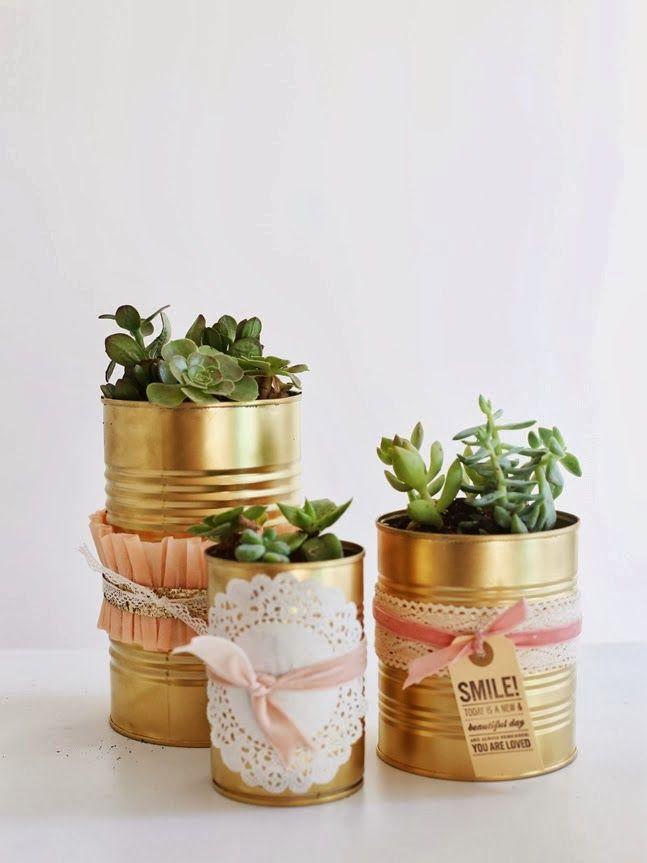 decoracion facil: diy.macetas doradas con latas | dec detalles