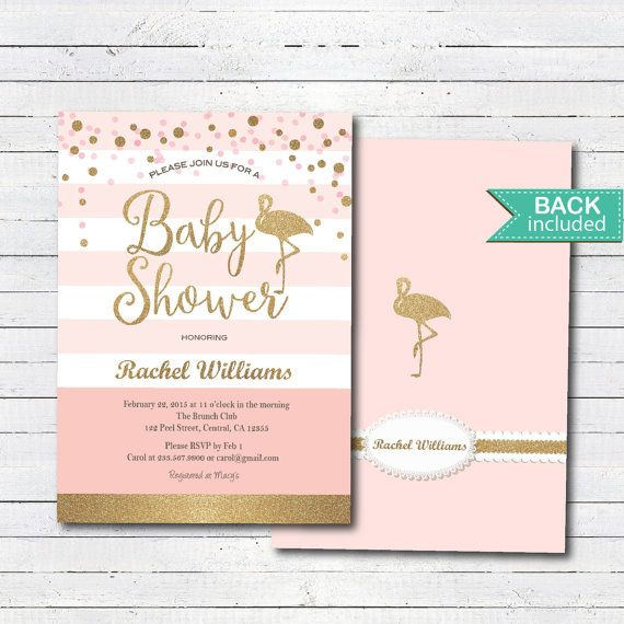 Pink And Gold Baby Shower Invitation Flamingo Baby By Crazylime