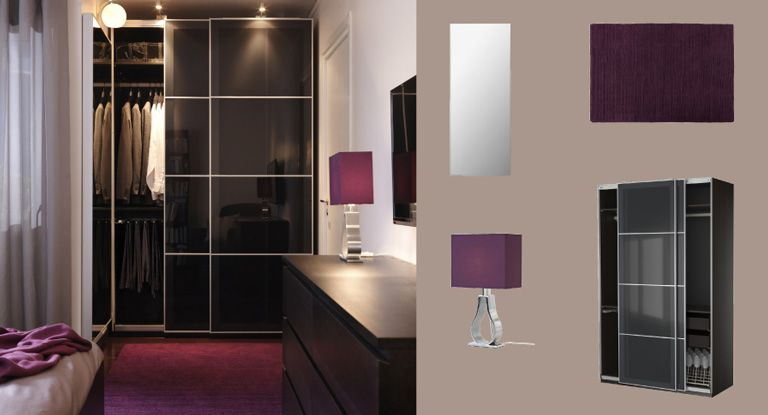id e d co pour une chambre grise violette et noire pax armoire brun noir avec uggdal portes. Black Bedroom Furniture Sets. Home Design Ideas