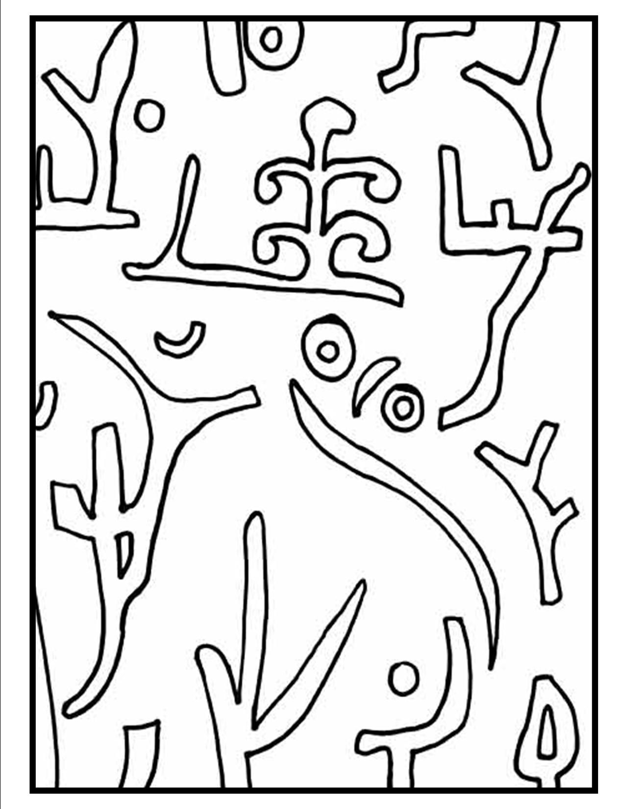 This is a picture of the coloring page for Paul Klee\'s Park coloring ...
