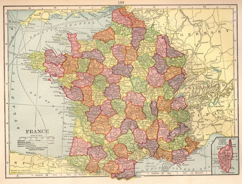 1915 Antique FRANCE Map Vintage Map of France Gallery Wall Art #4335 ...