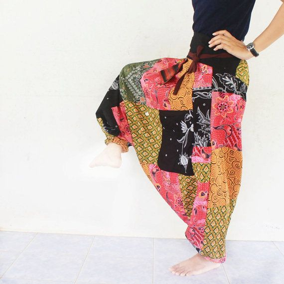Pathcwork Thai Batik Sarong Harem Pants Handmade By