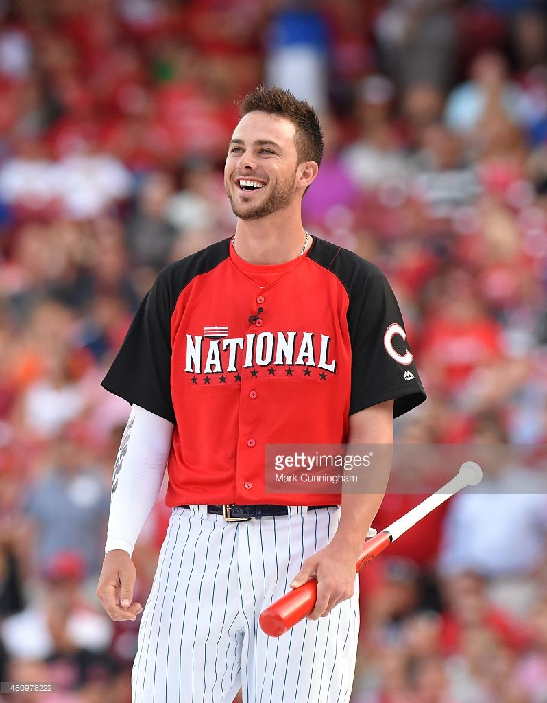 a5562df80b1 National League All-Star Kris Bryant  17 of the Chicago Cubs looks on and  smiles prior to the Gillette Home Run Derby presented by Head   Shoulders  at the ...