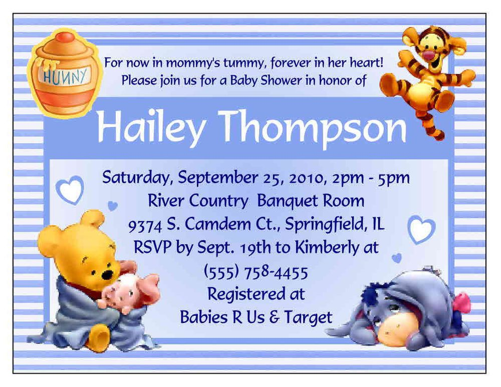 20 WINNIE THE POOH BABY SHOWER INVITATIONS - CUSTOM | Baby Burgess ...