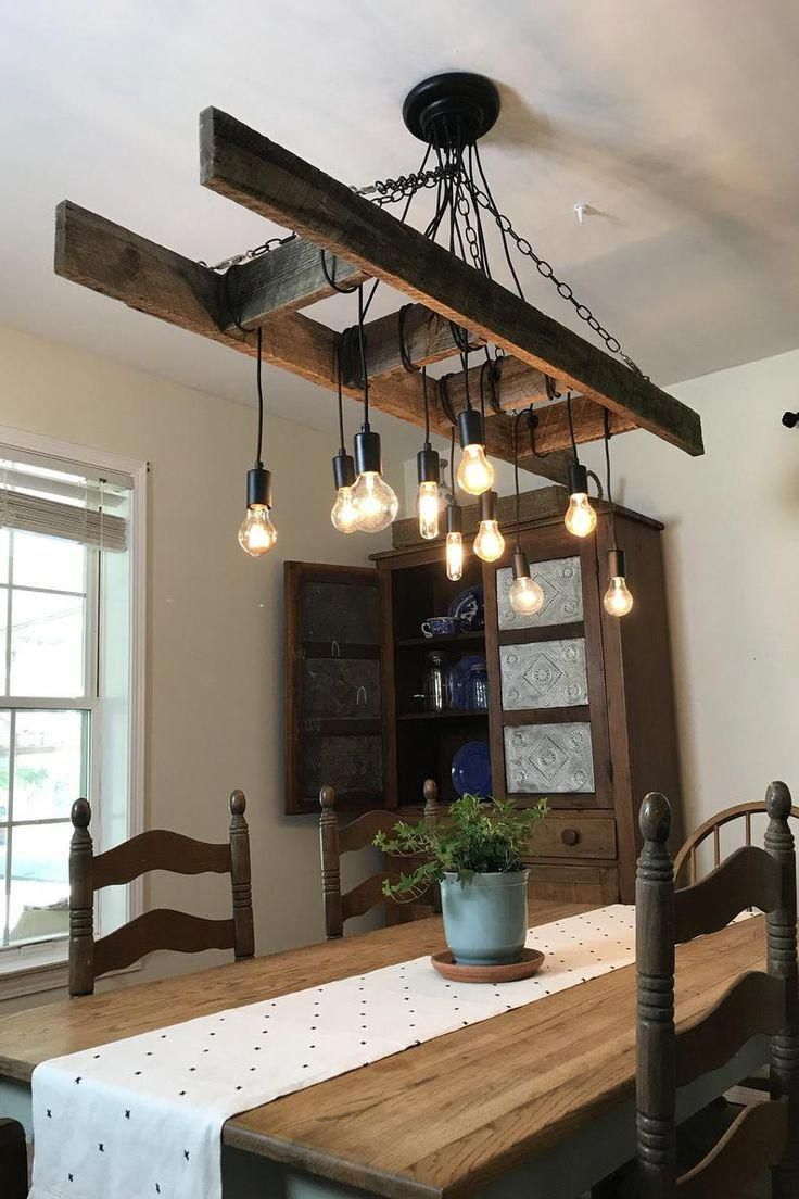 Vintage Farmhouse Ladder Chandelier with Edison Bulbs made with Reclaimed Rustic Wood