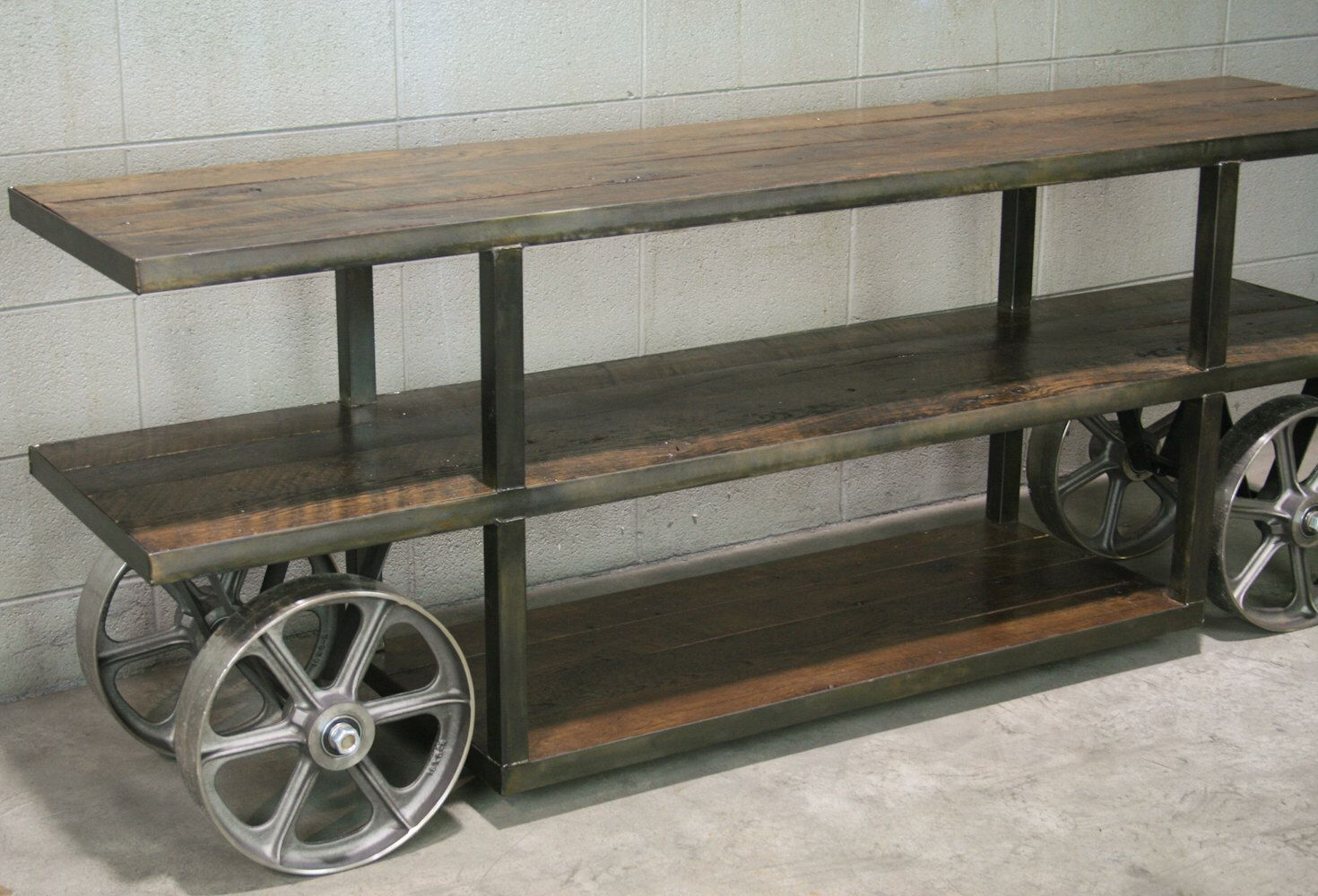 Industrial Console Table With Wheels Trolley Cart Media Stand