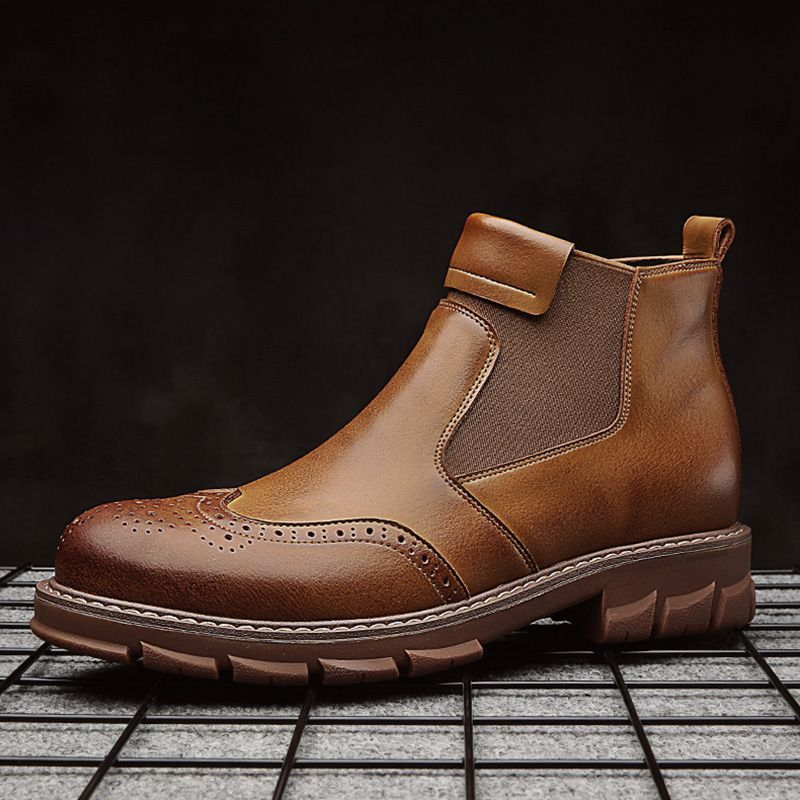 Fashion Plain Round Toe Mens Ankle Boots