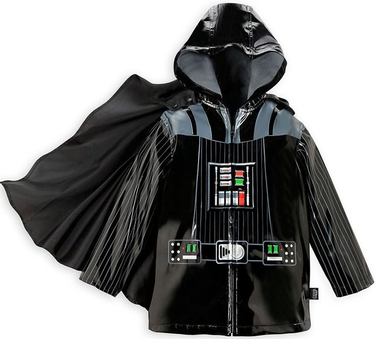 Disney Store Deluxe Caped Darth Vader Rain Jacket Star Wars Kids Coat Hooded NEW