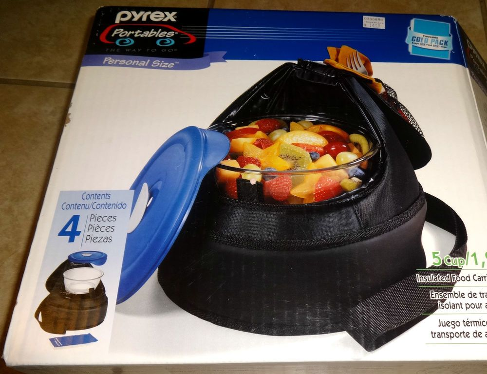 4 pc pyrex portable personal size 5 cup nib insulated carrier round ...