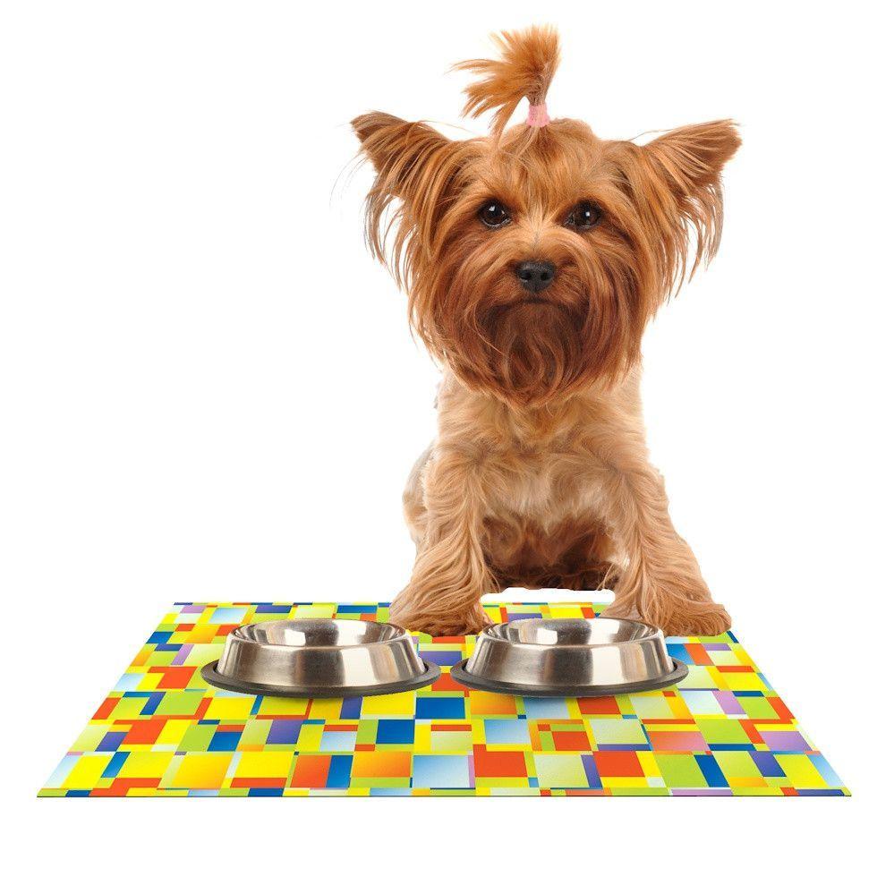 "Dawid Roc ""Multi Color Blocking"" Yellow Geometric Dog Place Mat"