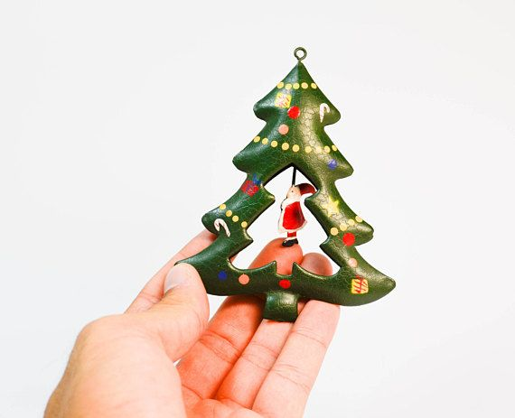 cute metal christmas tree ornament with moving santa claus christmas decorchristmas tree - Moving Christmas Decorations