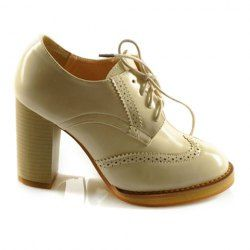 Vintage Women's Ankle Boots With Patent Leather and Lace-Up Design
