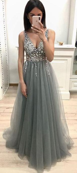 Long Prom Dress With Beading 8th Graduation Dress Custom-made School Dance Dress