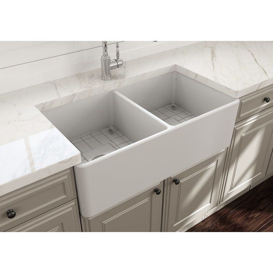 Bocchi 33 Inch Classico Farmhouse Apron Fireclay Double Bowl Kitchen Sink With Bottom Grid And Strainer Matte White 1139 002 0120 Double Bowl Kitchen Sink White Farmhouse Sink Double Kitchen Sink
