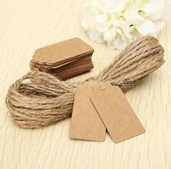 100pcs Blank  Kraft Paper Hang Tags Wedding Party Favor Label Price  Cards ES