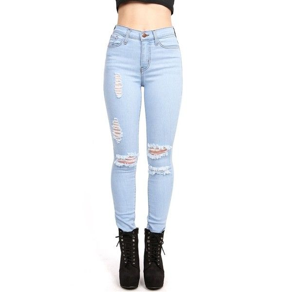 Light coloured high waisted jeans
