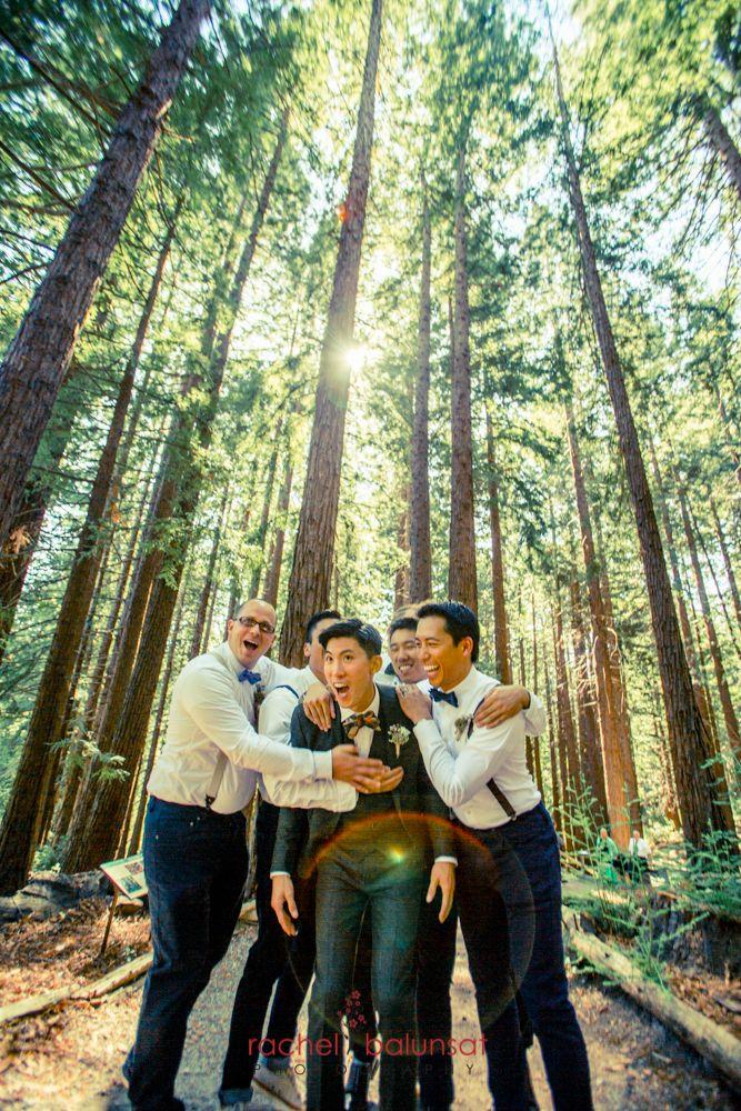 Happy groomsmen at the UC Botanical Garden in Berkeley California ...