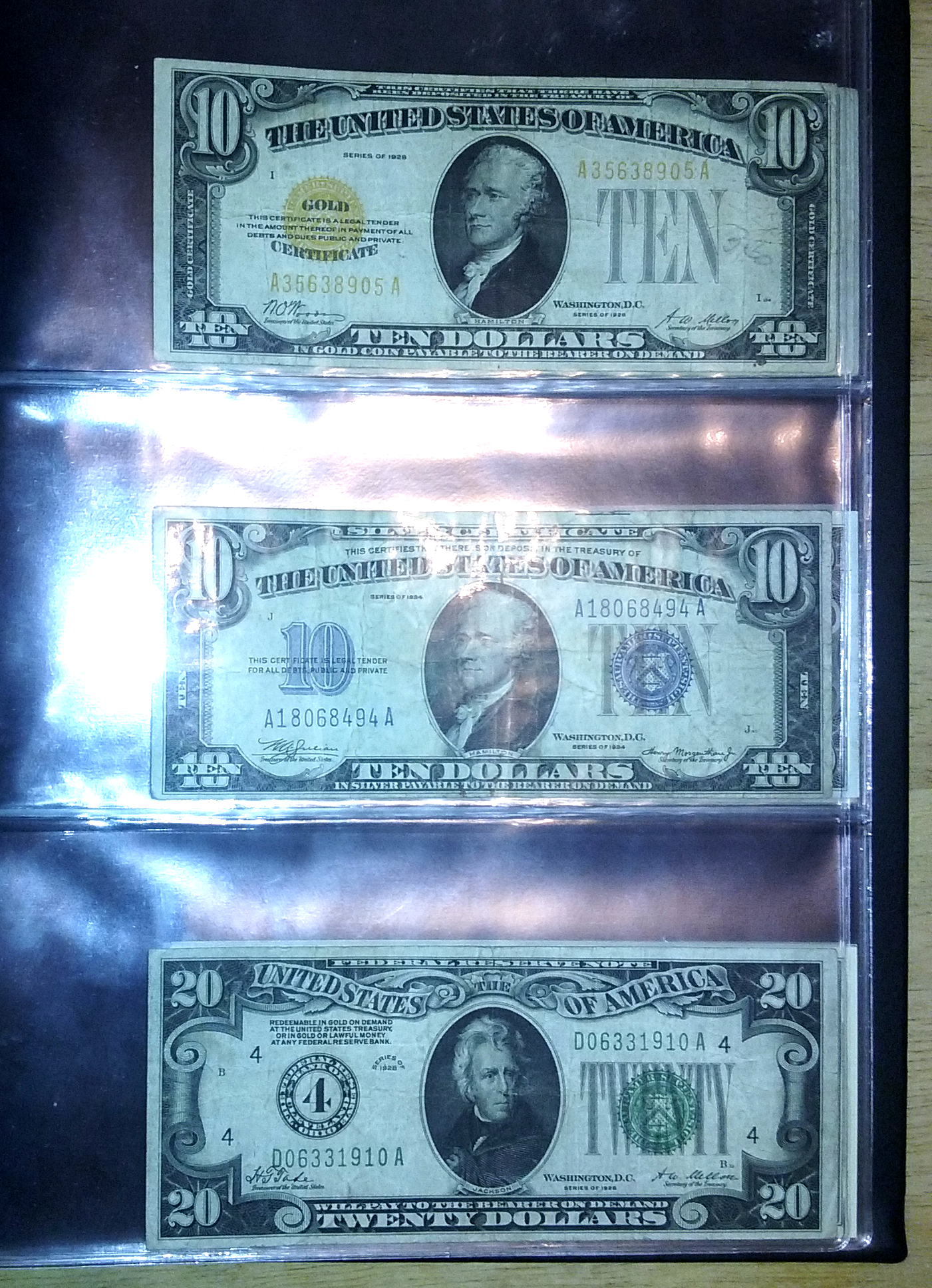 1928 10 Gold Certificate 1934 10 Silver Certificate And 1928