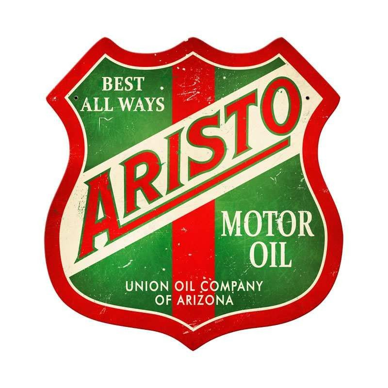 Vintage and Retro Wall Decor - JackandFriends.com - Retro Aristo Oil Shield Metal Sign  15 x 15 Inches, $39.97 (http://www.jackandfriends.com/retro-aristo-oil-shield-metal-sign-15-x-15-inches/)