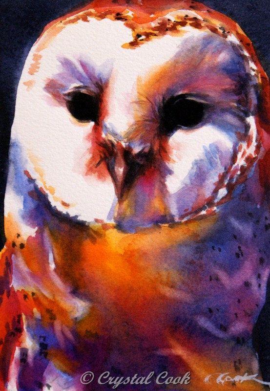 Watercolor Owl Painting Woodland Creature Wildlife Bird Art Original 5 X 7 Bright Colors On