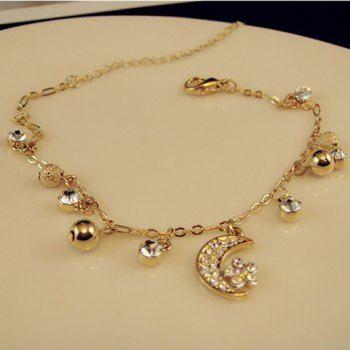 $6.99 Fashionable Diamante Moon Pendant Beaded Alloy Anklet For Women