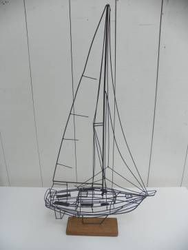 Ship Wire | Vintage Boat Wire Sculpture Mecox Gardens Wire Art Transport