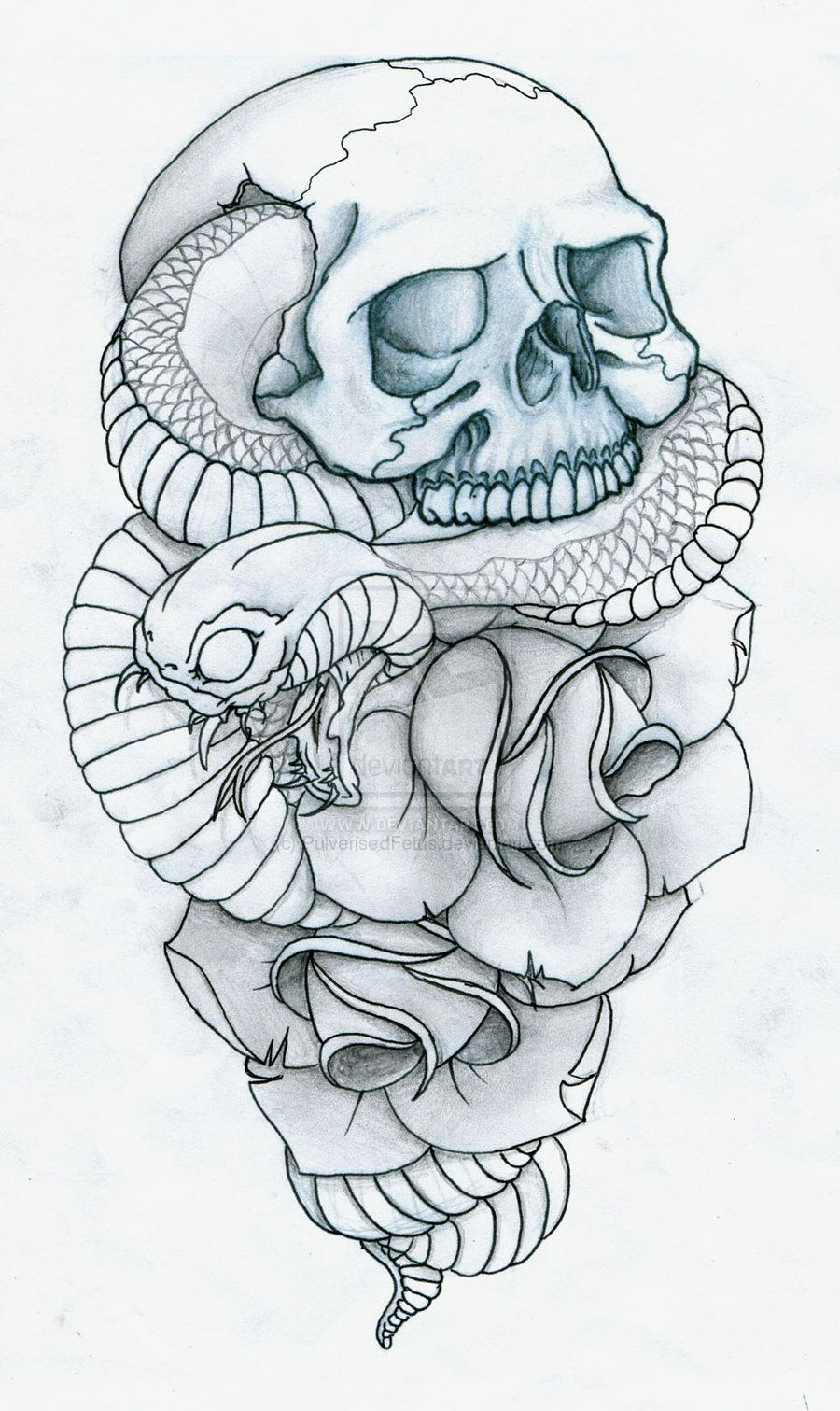 Photo of Skull, Snake and Roses Tattoo by PulverisedFetus on DeviantArt